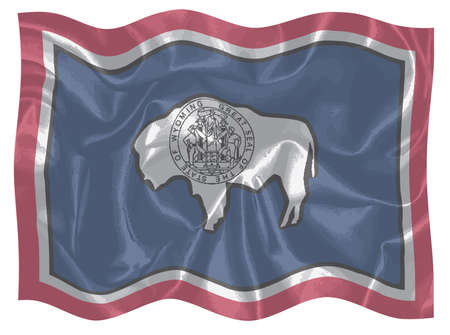 The USA state of Wyoming state flag fluttering in the breeze 写真素材