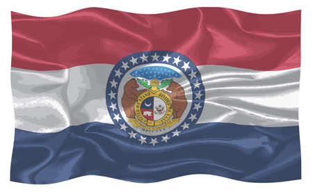The flag of the state of Missouri waving in the breeze Imagens