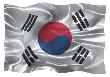 The flag of South Korea with silk effect fluttering in the breeze Stok Fotoğraf