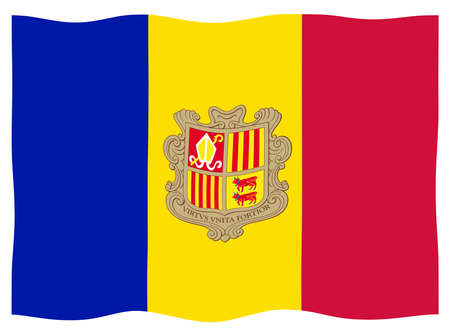 The flag of Andorra with coat of arms in red blue and yellow fluttering on a white background