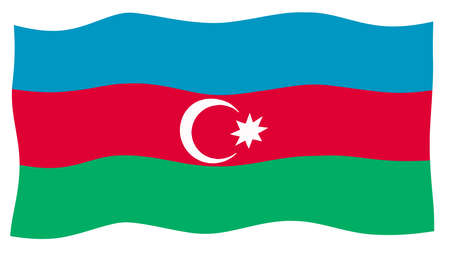 The flag of Azerbaijan in blue red and green fluttering on a white background
