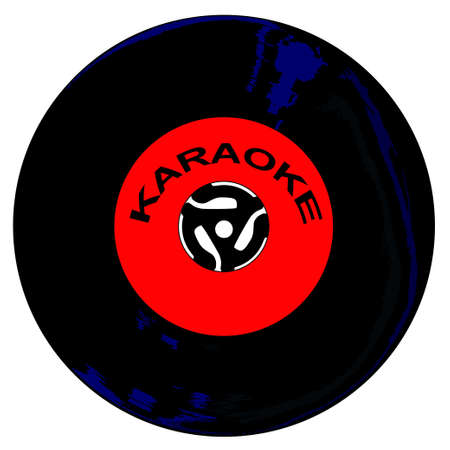 A typical 45 rpm vinyl record with a karaoke labell over a white background. Stock Photo
