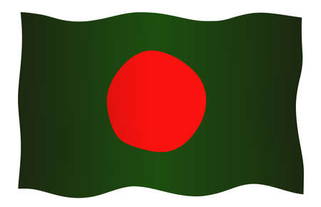 Bangladesh flag swith red dot and green background on a white backdrop