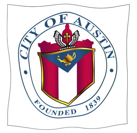 The seal of the Texan city of Austin over a white background fluttering in a breeze