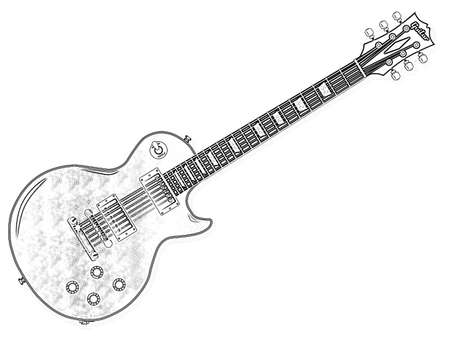 The definitive rock and roll guitar isolated over a white background. Stock Photo