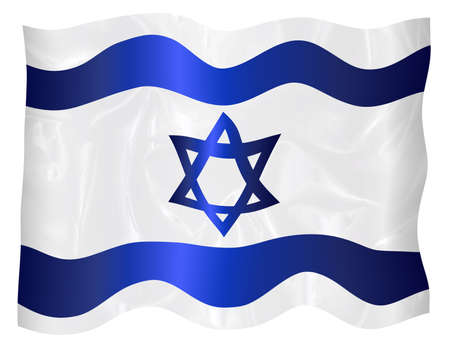 The flag of Israel in blue and white with the star of David waving in the breeze