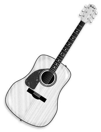 A typical left handed acoustic guitar line drawing isolated over a white background.
