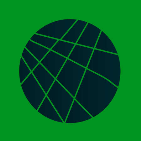 A dark green disc sliced over a bright green background