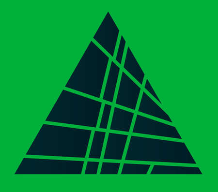 A green pyramid sliced over a green background 스톡 콘텐츠