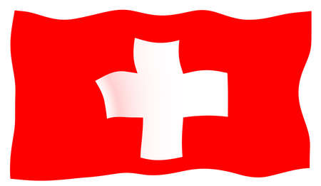 The flag of Switzerland in white and red fluttering in the wind Banque d'images - 112306369