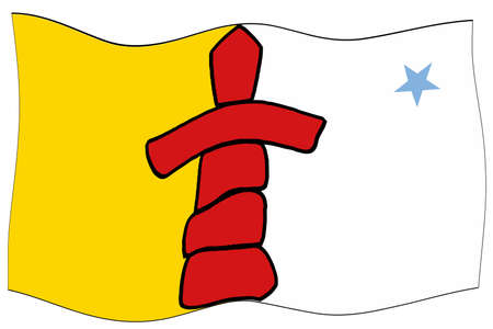 The official flag of Nunavut featuring the traditional Inuit land marker waving in the breeze