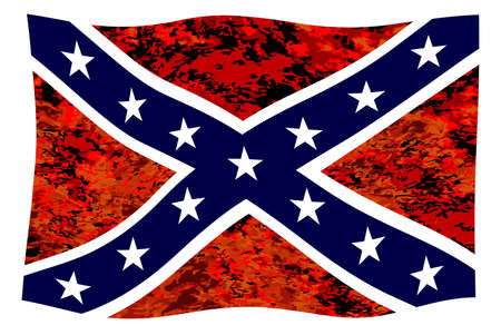The flag of the confederates during the American Civil War with fire background fluttering