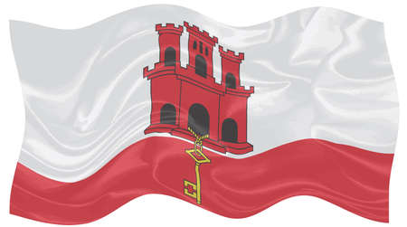 The flag of the UK Ireland of Gibraltar in silk waving in the wind