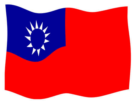 National flag of Taiwan in red white and blue fluttering Stock Photo