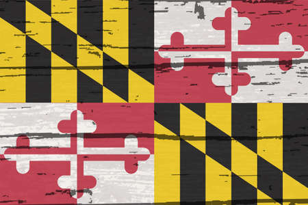 The flag of the USA state of Maryland on a wooden background