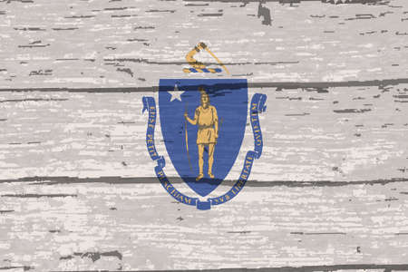 The flag of the USA state of Massachusetts