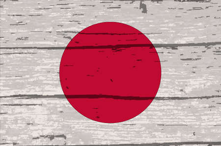 Japanes rising sun flag on driftwood timber background with a white paint overlay