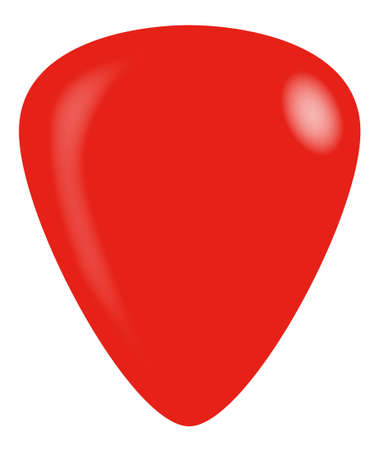 A guitar plectrum in red isolated on a white background.
