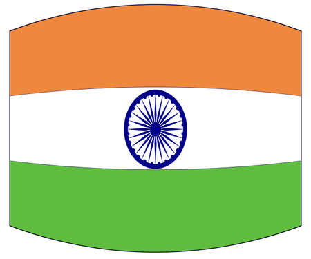 The flag of India in white green and orange with a warped out look
