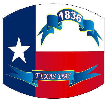 The flag of the USA state of TEXAS with ribbons and txt for Texas Day 1936 with warped out look Illustration