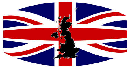 A silhouette of the United Kingdom set over a union flag warped
