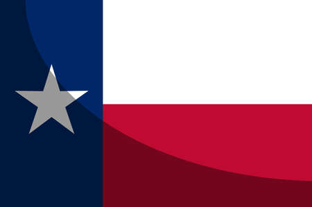 The flag of the USA state of TEXAS with shadow Illustration