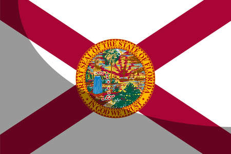 The flag of the USA state of Florida with shadow