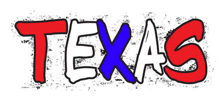 The word TEXAS sprayed onto a wall in red white and blue with a white background
