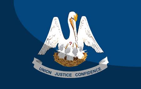 Le drapeau américain de l'État de Louisiane avec une ombre