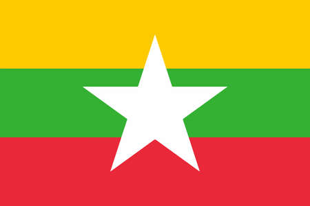 The national flag of the African country of Myanmar Stock Illustratie