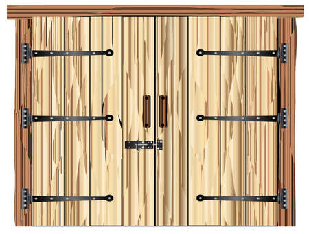 A large closed wooden barn double door with bolt and hinges Banco de Imagens - 113743998