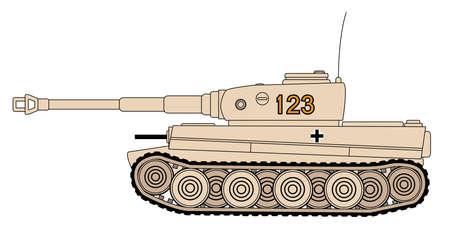 Rysunek linii ciężkiego niemieckiego czołgu Tygrys z II wojny światowej