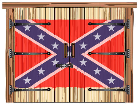 A large closed wooden barn double door with bolt and hinges and the confederate flag painted on Banco de Imagens - 115445009