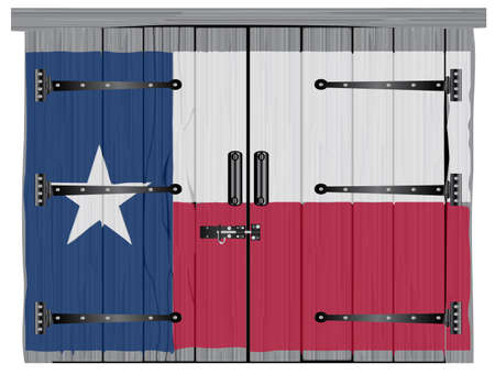 A large closed old hardwood barn double door with bolt and hinges with a painted Texan flag
