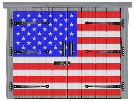 A large closed old hardwood barn double door with bolt and hinges with the Stars and Stripes paintedon Imagens - 115445012