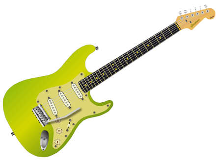 A green traditional solid body electric guitar isolated over white.