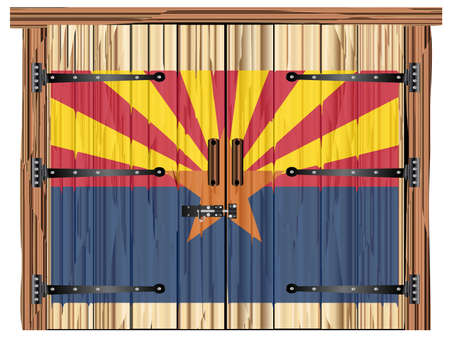 A large closed wooden barn double door with bolt and hinges and the Arizona flag painted on Banco de Imagens - 115445022