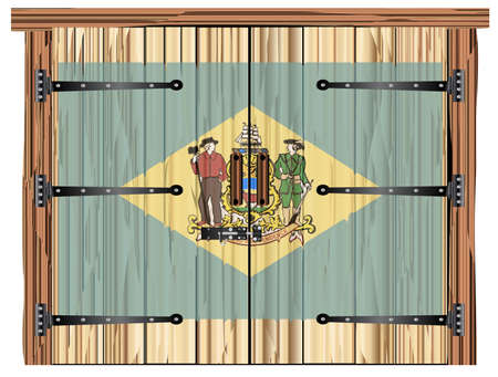 A large closed wooden barn double door with bolt and hinges and the Delaware flag painted on