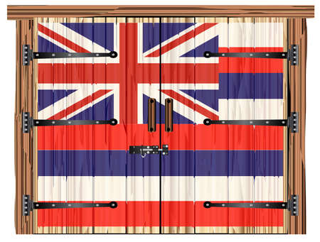 A large closed wooden barn double door with bolt and hinges and the Hawaii flag painted on