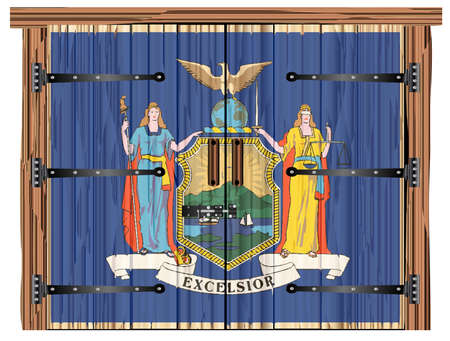 A large closed wooden barn double door with bolt and hinges and the New York flag painted on