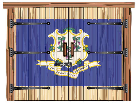 A large closed wooden barn double door with bolt and hinges and the Connecticut flag painted on