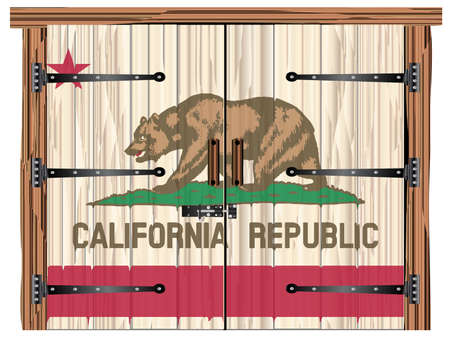 A large closed wooden barn double door with bolt and hinges and the California flag painted on