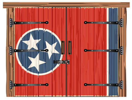 A large closed wooden barn double door with bolt and hinges and the Tennessee flag painted on