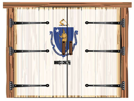 A large closed wooden barn double door with bolt and hinges and the Massachusetts flag painted on Imagens - 115445034