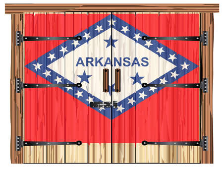A large closed wooden barn double door with bolt and hinges and the Arkanas flag painted on Banco de Imagens - 115445035