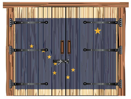 A large closed wooden barn double door with bolt and hinges and the Alaska flag painted on Banco de Imagens - 115445036