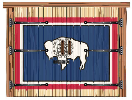 A large closed wooden barn double door with bolt and hinges and the Wyoming state flag painted on