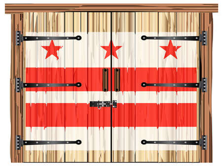 A large closed wooden barn double door with bolt and hinges and the Washington DC flag painted on