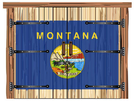A large closed wooden barn double door with bolt and hinges and the Montana state flag painted on Ilustração