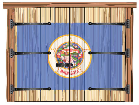 A large closed wooden barn double door with bolt and hinges and the Minnesota state flag painted on Banco de Imagens - 115445045